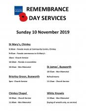 Remembrance Sunday Services - Sunday 10 November 2019